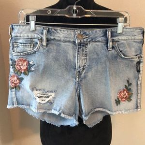 Silver distressed embroidered shorts